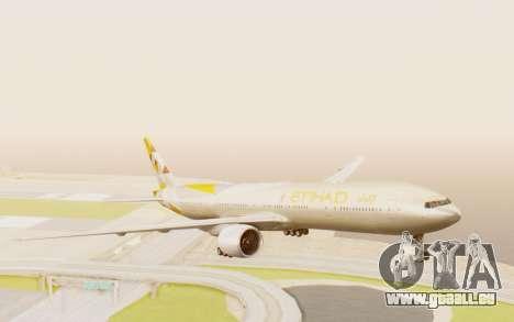 Boeing 777-300ER Etihad Airways für GTA San Andreas zurück linke Ansicht