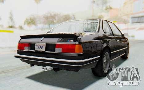 BMW M635 CSi (E24) 1984 HQLM PJ3 pour GTA San Andreas sur la vue arrière gauche