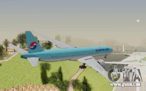 Boeing 777-300ER Korean Air für GTA San Andreas rechten Ansicht