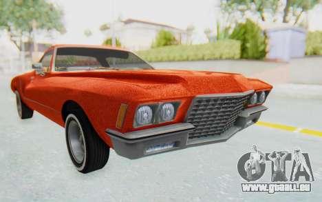 Buick Riviera 1972 Boattail Lowrider für GTA San Andreas rechten Ansicht