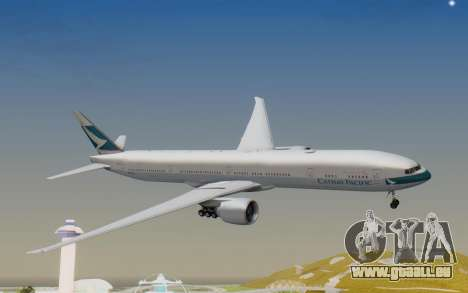 Boeing 777-300ER Cathay Pacific Airways v1 pour GTA San Andreas sur la vue arrière gauche