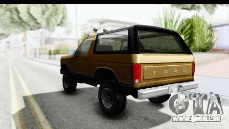 Ford Bronco 1980 Roof IVF pour GTA San Andreas vue de droite