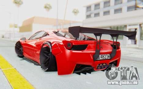 Ferrari 458 Liberty Walk für GTA San Andreas linke Ansicht