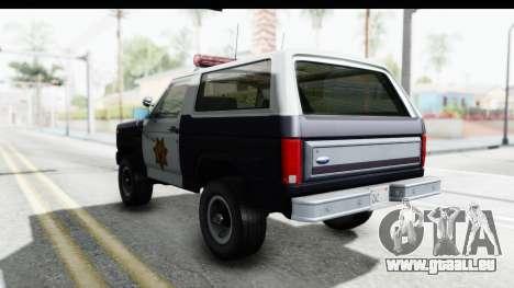 Ford Bronco 1982 Police pour GTA San Andreas sur la vue arrière gauche