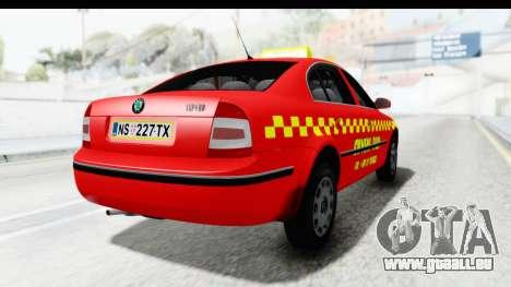 Skoda Superb Red Taxi für GTA San Andreas linke Ansicht