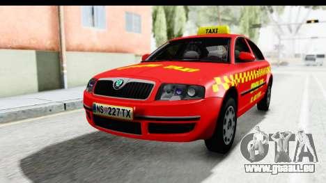 Skoda Superb Red Taxi für GTA San Andreas rechten Ansicht