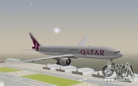 Boeing 777-300ER Qatar Airways v1 pour GTA San Andreas sur la vue arrière gauche