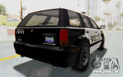 Canis Seminole Police Car pour GTA San Andreas sur la vue arrière gauche