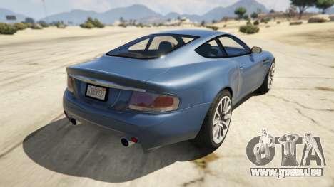 GTA 5 2001 Aston Martin V12 Vanquish arrière vue latérale gauche
