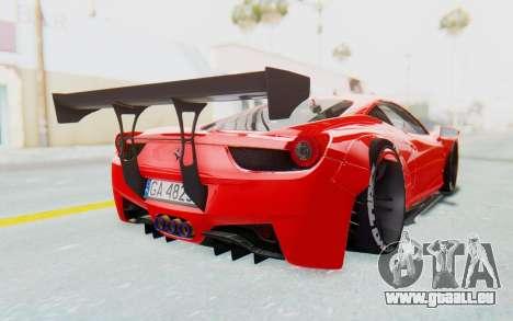Ferrari 458 Liberty Walk pour GTA San Andreas vue arrière