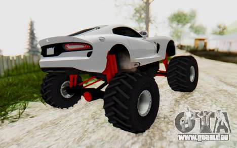 Dodge Viper SRT GTS 2012 Monster Truck für GTA San Andreas zurück linke Ansicht