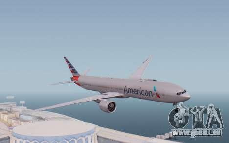 Boeing 777-300ER ANA JA755A - Gundam für GTA San Andreas zurück linke Ansicht