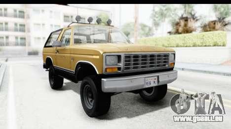 Ford Bronco 1980 Roof IVF pour GTA San Andreas sur la vue arrière gauche