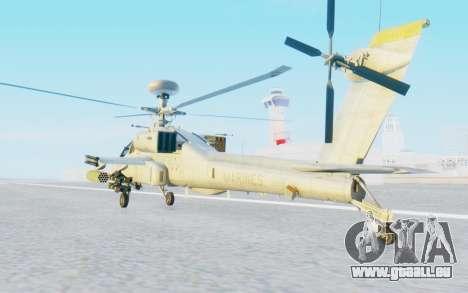 AH-64 Apache Marines pour GTA San Andreas sur la vue arrière gauche