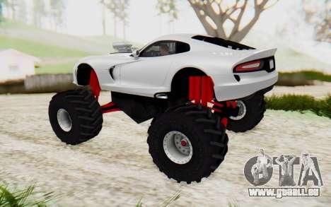 Dodge Viper SRT GTS 2012 Monster Truck pour GTA San Andreas laissé vue
