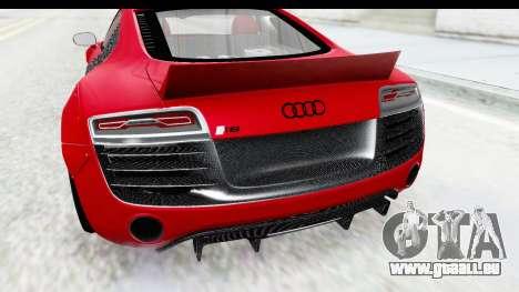 Audi R8 5.2 V10 Plus LB Walk für GTA San Andreas Rückansicht