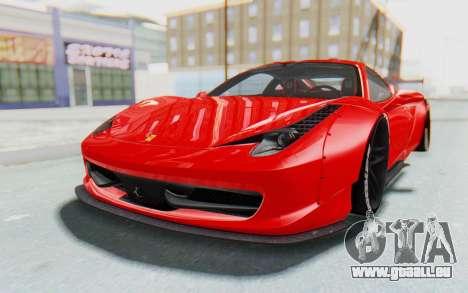 Ferrari 458 Liberty Walk für GTA San Andreas zurück linke Ansicht
