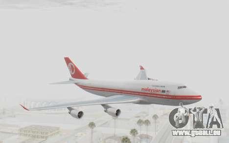 Boeing 747-200 Malaysia Airlines für GTA San Andreas zurück linke Ansicht