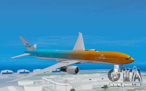 Boeing 777-300ER KLM - Royal Dutch Airlines v4 pour GTA San Andreas sur la vue arrière gauche