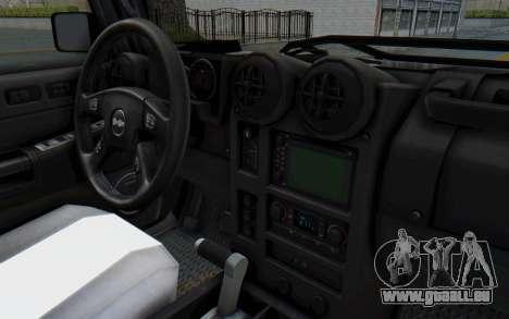 Hummer H2 pour GTA San Andreas vue intérieure