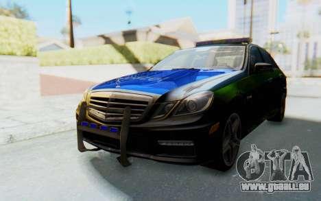 Mercedes-Benz E63 German Police Blue-Yellow für GTA San Andreas zurück linke Ansicht