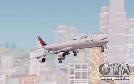Airbus A340-600 Philippine Airlines für GTA San Andreas zurück linke Ansicht