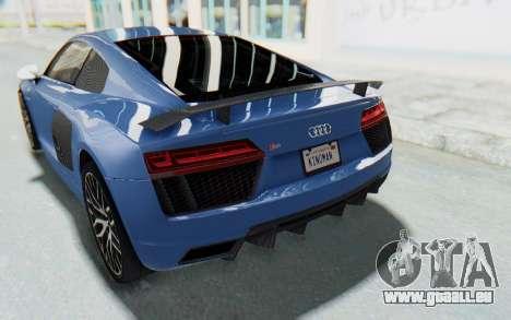 Audi R8 2017 pour GTA San Andreas vue de dessous