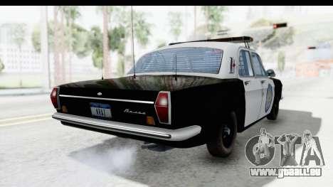 ГАЗ 24 la Police Highway Patrol pour GTA San Andreas sur la vue arrière gauche