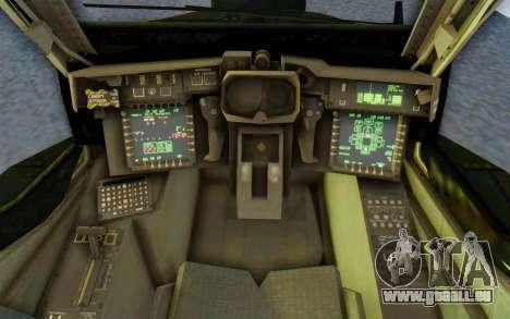 AH-64 Apache pour GTA San Andreas vue intérieure