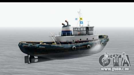 GTA 5 Buckingham Tug Boat v2 pour GTA San Andreas sur la vue arrière gauche