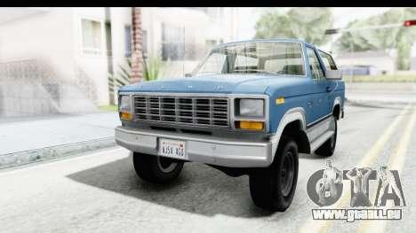 Ford Bronco 1980 pour GTA San Andreas sur la vue arrière gauche