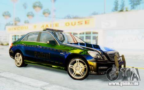 Mercedes-Benz E63 German Police Blue-Yellow für GTA San Andreas Rückansicht