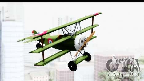 Fokker DR1 Old Paraguay Air Force für GTA San Andreas zurück linke Ansicht
