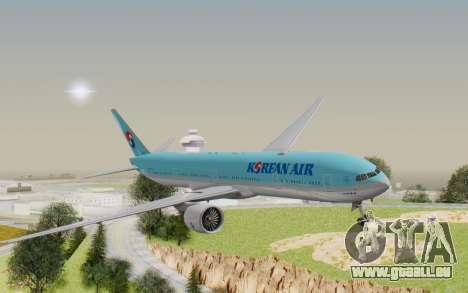 Boeing 777-300ER Korean Air für GTA San Andreas zurück linke Ansicht