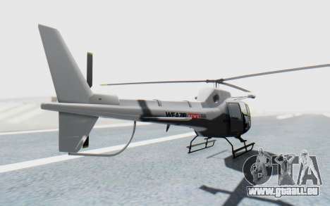 GTA 5 News Chopper Style Weazel News für GTA San Andreas zurück linke Ansicht