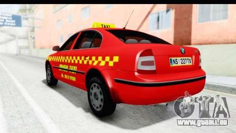 Skoda Superb Red Taxi für GTA San Andreas zurück linke Ansicht