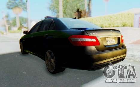 Mercedes-Benz E63 German Police Blue-Yellow für GTA San Andreas rechten Ansicht