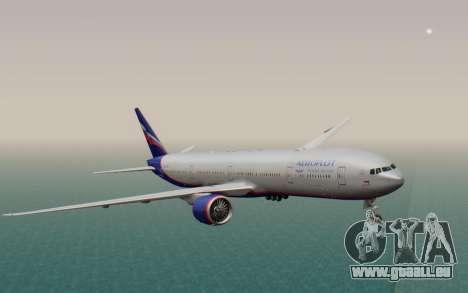 Boeing 777-300ER Aeroflot für GTA San Andreas zurück linke Ansicht