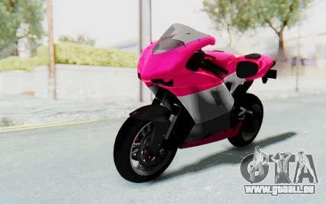 Ducati 1098R High Modification für GTA San Andreas zurück linke Ansicht