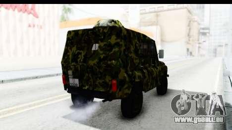 UAZ-469 de la police Militaire de la Serbie pour GTA San Andreas sur la vue arrière gauche