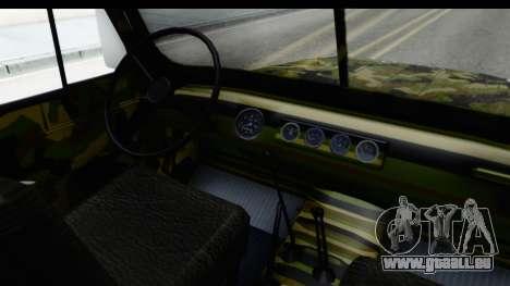 UAZ-469 de la police Militaire de la Serbie pour GTA San Andreas vue intérieure