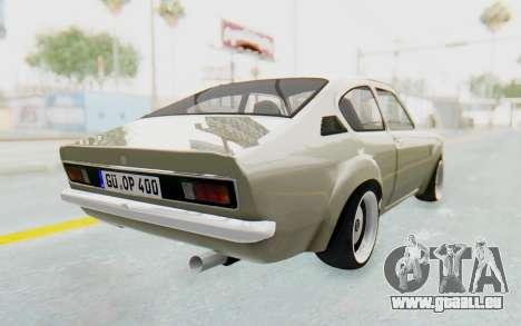 Opel Kadett C Coupe pour GTA San Andreas sur la vue arrière gauche
