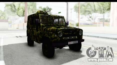 UAZ-469 de la police Militaire de la Serbie pour GTA San Andreas vue de droite