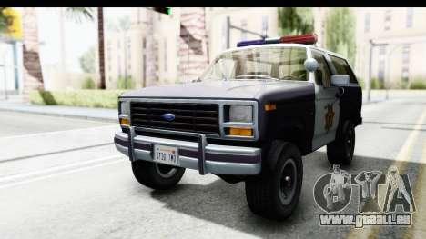 Ford Bronco 1982 Police für GTA San Andreas rechten Ansicht
