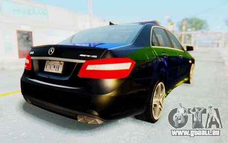 Mercedes-Benz E63 German Police Blue-Yellow für GTA San Andreas linke Ansicht