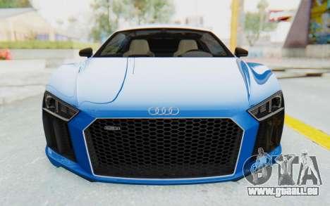 Audi R8 V10 Plus 2017 für GTA San Andreas obere Ansicht