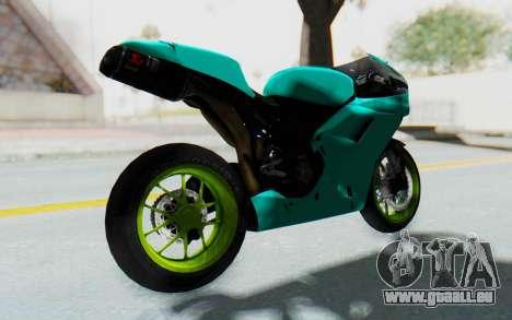 Ducati 1098R Streetrace pour GTA San Andreas sur la vue arrière gauche
