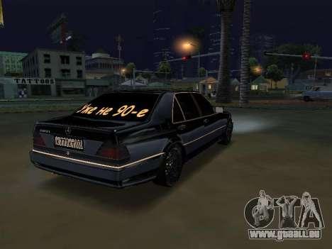 Mersedes-Benz W140 600SEL pour GTA San Andreas laissé vue