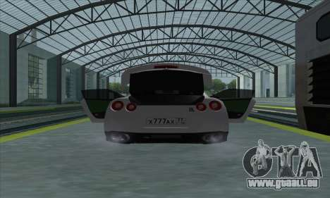 Nissan GT-R R35 Green Screen pour GTA San Andreas vue de droite