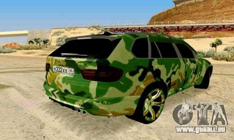 BMW X5M für GTA San Andreas zurück linke Ansicht